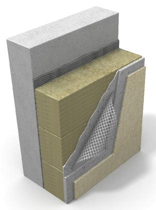 Układ warstw ściany ocieplonej płytami lamellowymi i wykończonej tynkiem cienkowarstwowym. Rys. Paroc