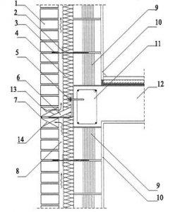 Rys. 2. Połączenie ściany zewnętrznej w strefie stropu skala 1:10 1 - cegły elewacyjne; 2 - krążek dociskowy LSZ-60; 3 - kotwa murowa ze stali nierdzewnej LSA-2; 4 - izolacja termiczna - wełna mineralna hydrofobizowana gr. 7 cm; 5 - kotwa do betonu HILTI; 6 - kotwa wspornikowa ze stali nierdzewnej KWL-1.5-160?750; 7 - systemowe uszczelnienie kompensacyjne; 8 - pustka powietrzna gr. 3 cm; 9 - pustak ceramiczny MAX 220; 10 - tynk gipsowo-wapienny; 11 - zbrojenie wieńca stropu; 12 - strop gęstożebrowy; 13 - pusta spoina pionowa (nawiew); 14 - pusta spoina pionowa (wywiew)
