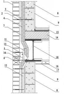 Rys. 3. Połączenie ściany zewnętrznej w osi żebra szkieletu stalowego skala 1:10 1 - cegły elewacyjne; 2 - kotwa murowa ze stali nierdzewnej LSA-2; 3 - krążek dociskowy LSZ-60; 4 - izolacja termiczna - wełna mineralna hydrofobizowana gr. 7 cm; 5 - kotwa murowa ze stali nierdzewnej KW; 6 - uszczelnienie kompensacyjne; 7 - pustka powietrzna gr. 3 cm; 8 - bloczki gazobetonowe; 9 - tynk gipsowo-wapienny; 10 - żebro stalowe (HEB 400); 11 - kotwa HMA - wg zamówienia indywidualnego (HALFEN-UK); 12 - kotwa SBA/L - wg zamówienia indywidualnego (HALFEN-UK); 13 - kotwa murowa ze stali nierdzewnej ML; 14 - płyta stropowa; 15 - warstwy podłogowe; 16 - profil sufitowy CD 60 × 27 × 0,6; 17 - płyta GKF (12,5 mm); 18 - pusta spoina pionowa