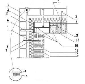 Rys. 4. Ściana zewnętrzna w strefie słupa narożnego skala 1:10 a - systemowa elastyczna masa uszczelniająca; b - systemowy profil piankowy; 1 - krążek dociskowy LSZ-60; 2 - kotwa murowa ze stali nierdzewnej LSA-2; 3 - cegły elewacyjne; 4 - izolacja termiczna - wełna mineralna hydrofobizowana gr. 7 cm; 5 - zaprawa cementowo-wapienna; 6 - kotwa murowa ze stali nierdzewnej ML; 7 - pustka powietrzna gr. 3 cm; 8 - słup stalowy; 9 - kotwa murowa ze stali nierdzewnej ML; 10 - przymocowana szyna kotwiąca ze stali nierdzewnej HTA (umożliwia korektę pionowego położenia kotwy); 11 - pustak ceramiczny MAX 220; 12 - tynk gipsowo-wapienny; 13 - płyta GKF