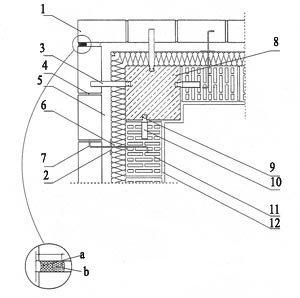 Rys. 5. Ściana zewnętrzna w strefie słupa narożnego skala 1:10 a - systemowa elastyczna masa uszczelniająca; b - systemowy profil piankowy; 1 - cegły elewacyjne; 2 - krążek dociskowy LSZ-60; 3 - kotwa murowa ze stali nierdzewnej ML; 4 - zaprawa cementowo-wapienna; 5 - pustka powietrzna gr. 3 cm; 6 - izolacja termiczna - wełna mineralna hydrofobizowana gr. 7 cm; 7 - kotwa murowa ze stali nierdzewnej LSA-2; 8 - słup żelbetowy; 9 - szyna kotwiąca ze stali nierdzewnej HMS (umożliwia korektę pionowego położenia kotwy); 10 - kotwa murowa ze stali nierdzewnej ML; 11 - pustak ceramiczny MAX 220; 12 - tynk gipsowo-wapienny