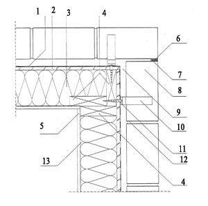 Rys. 7. Naroże wypukłe dla systemu kanadyjskiego skala 1:5 1 - izolacja przeciwwiatrowa; 2 - poszycie szkieletu drewnianego sklejka wodoodporna gr. 12 mm; 3 - termoizolacja ułożona między słupkami konstrukcji; 4 - słupek drewniany 38 × 140 mm; 5 - płyta gipsowo-kartonowa gr. 12,5 mm; 6 - elastyczna masa uszczelniająca; 7 - profil piankowy; 8 - cegły elewacyjne; 9 - wentylowana pustka powietrzna gr. 3 cm; 10 - kotwa do drewna ze stali nierdzewnej (HFC) L = 130 + 50 mm; 11 - wkręt do drewna ?8; 12 - zaprawa cementowo-wapienna; 13 - paroizolacja