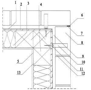 Rys. 8. Naroże wypukłe dla systemu ramowego skala 1:5 1 - izolacja przeciwwiatrowa; 2 - poszycie szkieletu drewnianego - sklejka wodoodporna gr. 12 mm; 3 - termoizolacja ułożona między słupkami konstrukcji; 4 - słupek drewniany 140 × 140 mm; 5 - płyta gipsowo-kartonowa gr. 12,5 mm; 6 - elastyczna masa uszczelniająca; 7 - profil piankowy; 8 - cegły elewacyjne; 9 - wentylowana pustka powietrzna gr. 3 cm; 10 - kotwa do drewna ze stali nierdzewnej (HFC) L = 130 + 50 mm; 11 - wkręt do drewna ?8; 12 - zaprawa cementowo-wapienna; 13 - paroizolacja