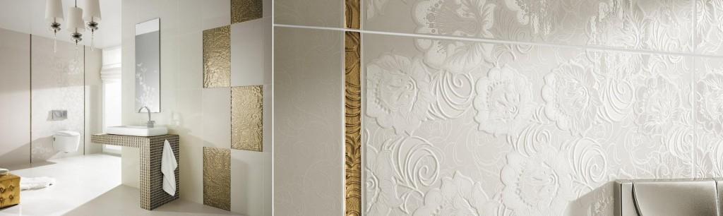 Mozaika, szklane listwy i złoto - beżowe inserta dekoracyjne ze szkła. Kolekcja Rocoletta / Ricoletto.Fot. Ceramika Paradyż