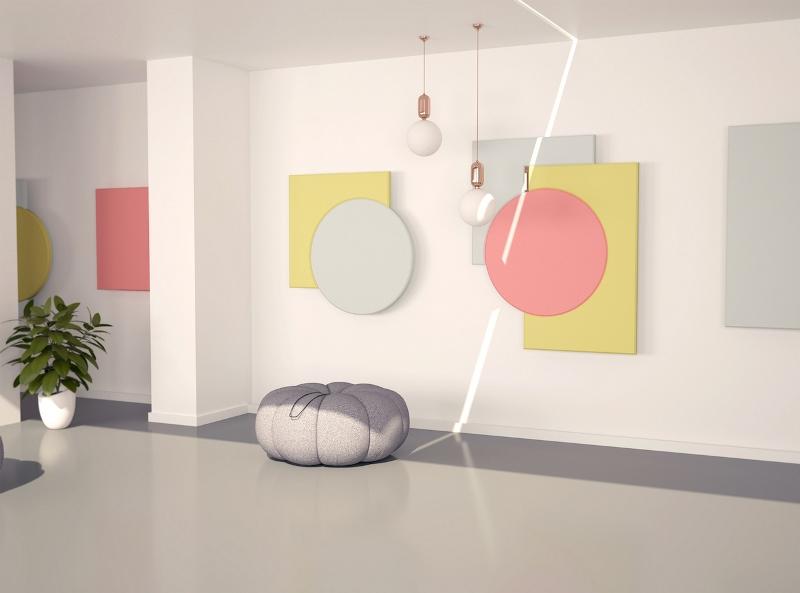 """Panele akustyczne Fluffo Art wykonane z elastycznej pianki poliuretanowej pokryta zostały miłą w dotyku strukturą przypominającą aksamit. Te """"ruchome, geometryczne, neoplastyczne formy nabierają pięknego wyglądu dzięki odpowiednim kolorom i kompozycji"""" (Joanna Kabala). Fot. Fluffo"""