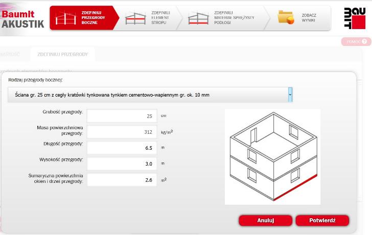 Zrzut ekranu programu, służącego do określenia wartości izolacyjności akustycznej od dźwięków uderzeniowych L'n,w [http://akustik.baumit.pl]